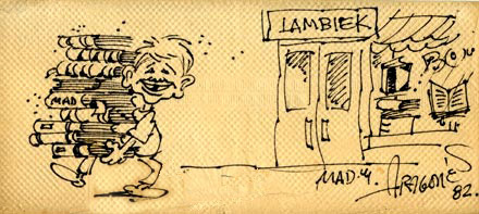 illustration on a napkin for Lambiek, by Sergio Aragones