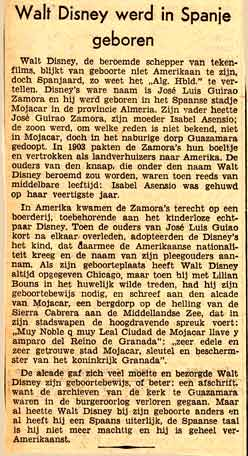 krantenartikel over Walt Disney