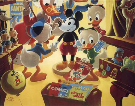 In Uncle Walt's Collectory (oil painting detail) by Carl Barks