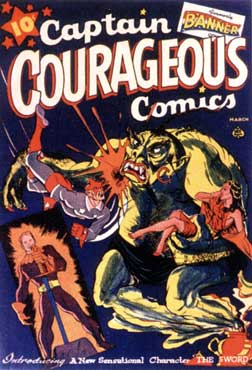 Captain Courageous Comics cover, by David Berg (1942)