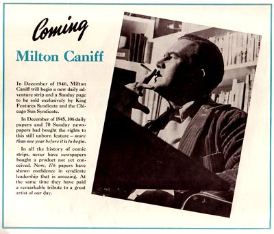 Milton Caniff preview, photo ©1945 King Features Syndicate