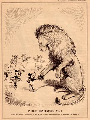 Public Benefactor number 1, a cartoon in Punch magazine (1935) about Walt Disney's arrival in England, by Ernest H. Shepard