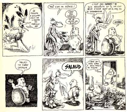 comic from Le Canard Sauvage by Depralon (1974)