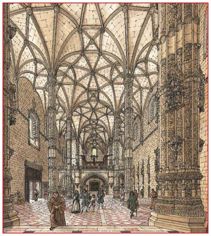 The interior of Jerónimos Monastery Church (from: Le Portugal)