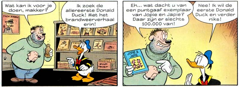 Donald Duck weekly, Dutch 2500th issue, featuring a story about a visit to Kees Kousemaker's famous comic shop, Lambiek (artist unknown)