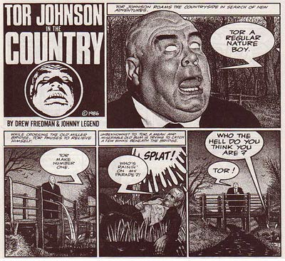 Tor Johnson in the Country, by Drew Friedman
