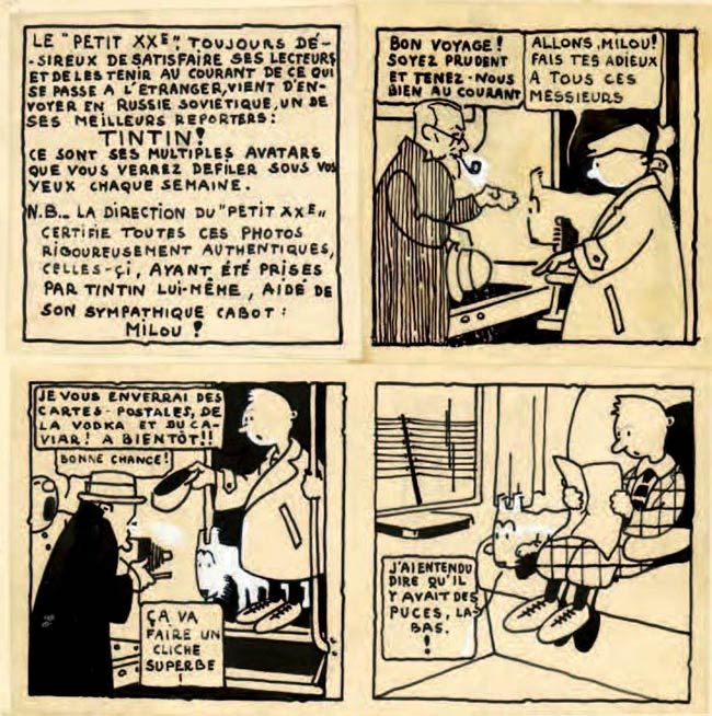 original of the first Tintin story, by Hergé 1929
