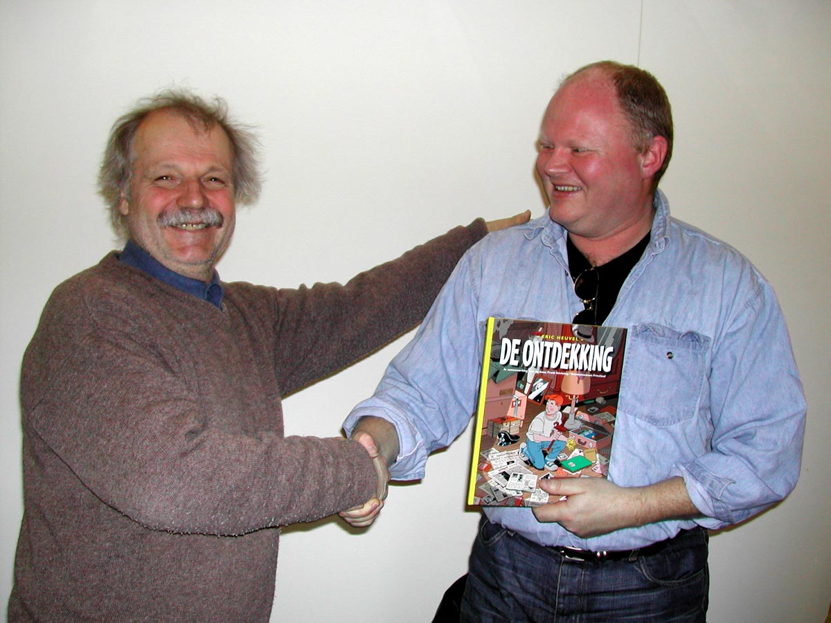 Kees Kousemaker welcomes Eric Heuvel to Galerie Lambiek in March 2003