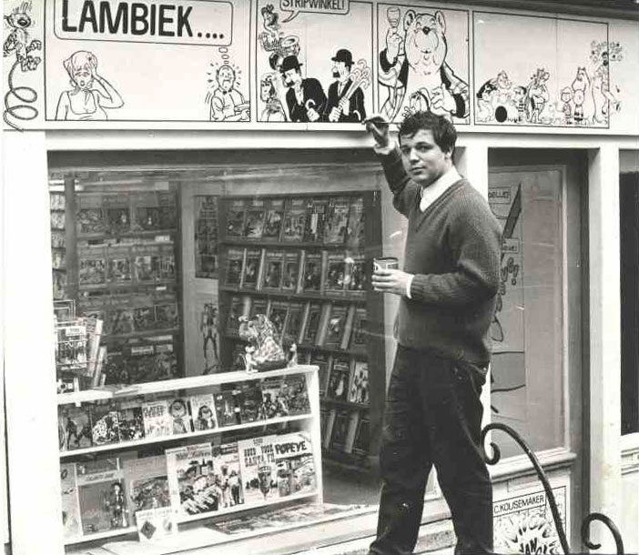 Kees Kousemaker at the first Lambiek comics shop at Kerkstraat 104 near Leidseplein in central Amsterdam, The Netherlands