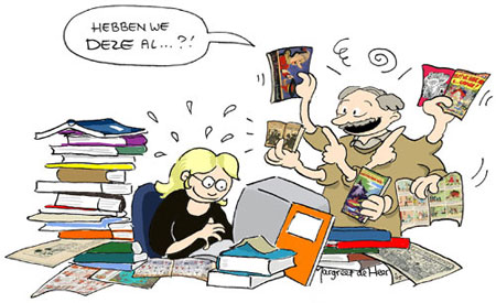 Kees and Margreet working on the book, De Wereld van de Nederlandse Strip