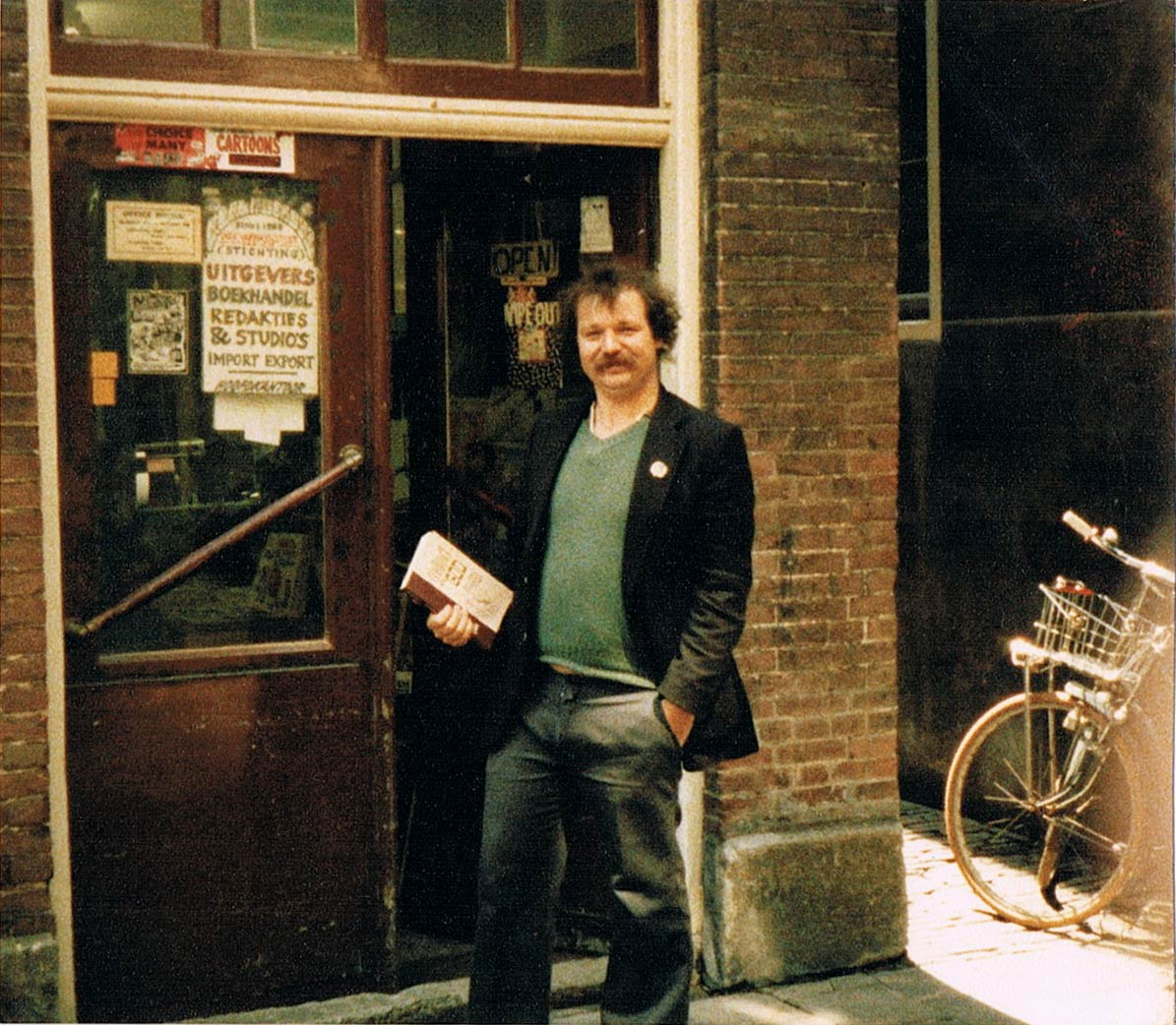 Kees Kousemaker at the offices of Real Free Press in Amsterdam in the 1970's