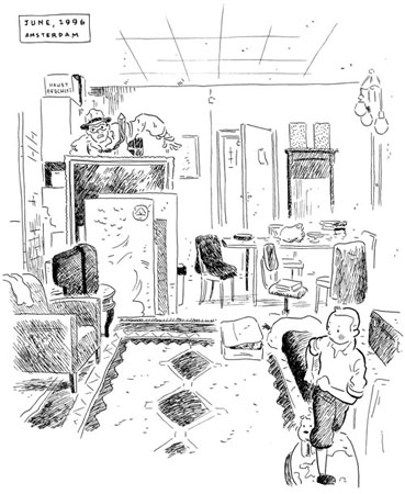 A sketch of Lambiek's studio apartment by Adrian Tomine (June 1996)