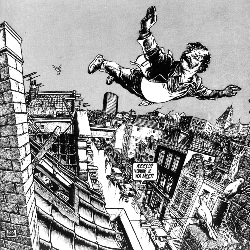 Kees Kousemaker flying high over Lambiek on the Kerkstraat in Amsterdam, an original drawing by Peter Pontiac for the move to Kerkstraat 78, 1017GN