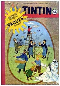 Tintin, easter cover, by Hergé
