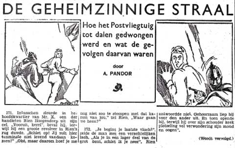 De Geheimzinnige Straal, by A. Pandor (Het Ochtendblad, Thursday 13 March 1941)