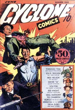 Cyclone Comics cover, by H.L. Parkhurst (1940)