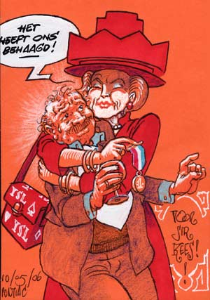 Queen Beatrix embraces her Knight - Sir Cornelis Kees Kousemaker, in a tribute drawn by dutch underground artist Peter Pontiac