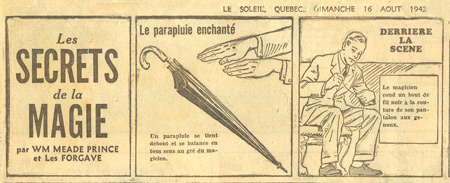 Secrets of Magic, by William Meade Prince (from Quebec newspaper Le Soleil, 16-8-1942)