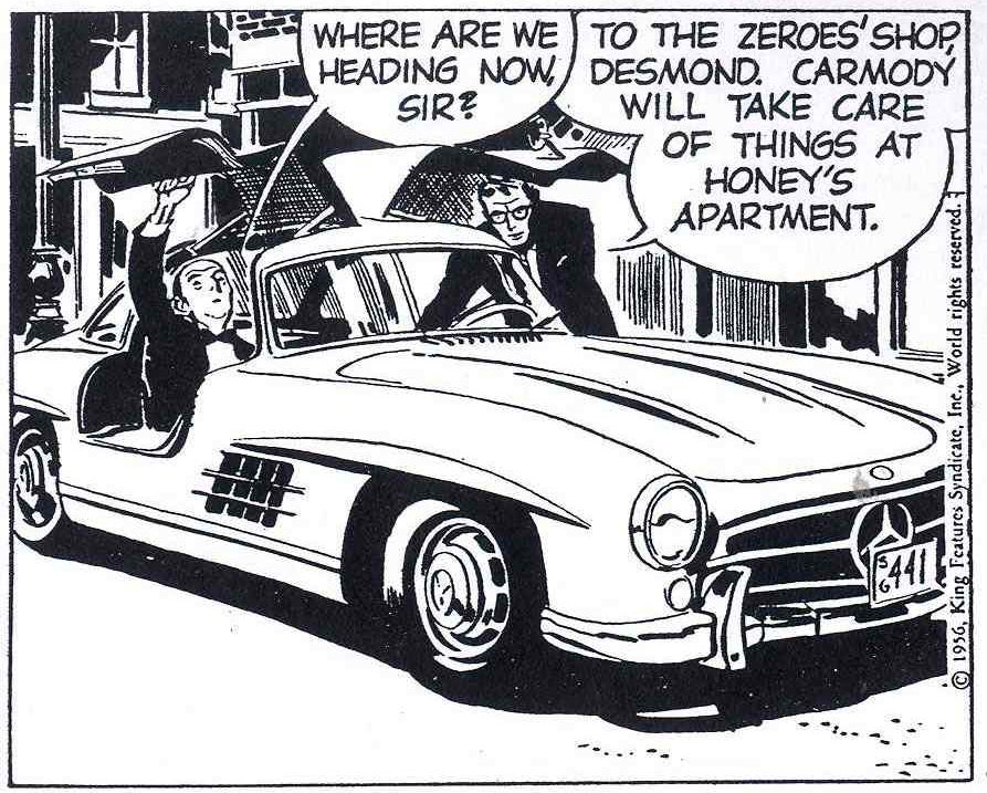 Raymond's mercedes is Rip Kirby, July 1956