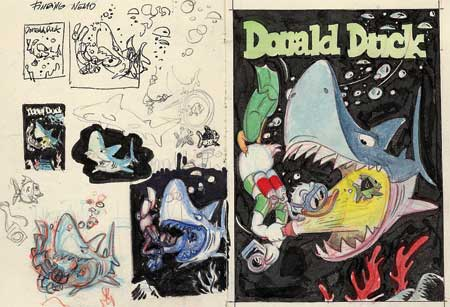 Donald Duck cover sketches by Ulrich Schröder