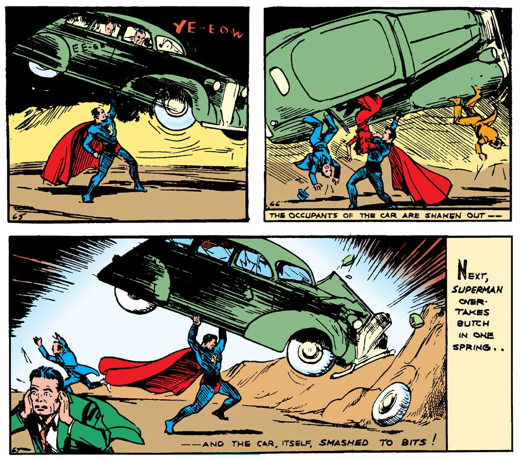 Superman in action, 1938, by Joe Shuster