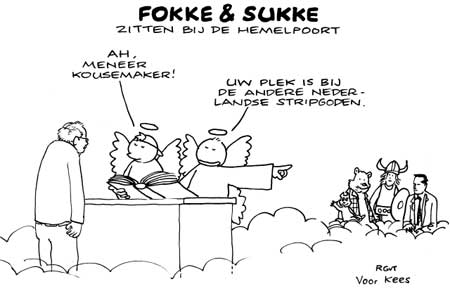 Fokke en Sukke tribute to Kees Kousemaker, original drawing by Jean-Marc van Tol and printed in the NRC Handelsblad 29 April 2010