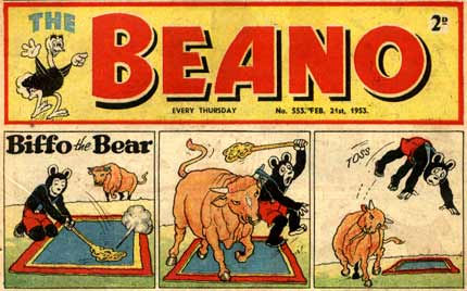 Biffo th Bear in Beano, 1953, by Dudley D. Watkins